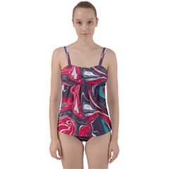 Red Vivid Marble Pattern 3 Twist Front Tankini Set