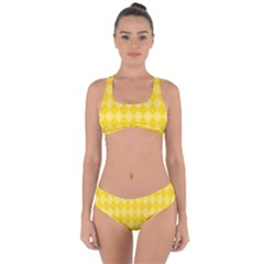 Yellow Diamonds Criss Cross Bikini Set