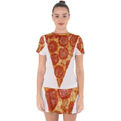 Pizza Slice Drop Hem Mini Chiffon Dress by dajjj