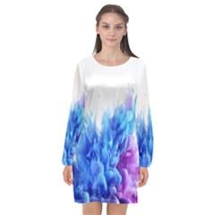 Abstract Smoke Long Sleeve Chiffon Shift Dress  by dajjj