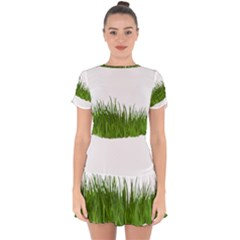 Green Grass Drop Hem Mini Chiffon Dress