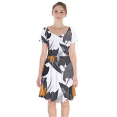 Natural Palm Plant Short Sleeve Bardot Dress