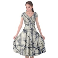 Black And White Botanical Motif Artwork 2 Cap Sleeve Wrap Front Dress