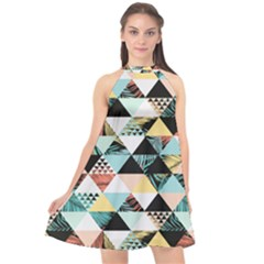 Tropical Beach Love Halter Neckline Chiffon Dress