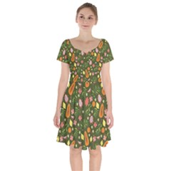 Tropical Fruits Love Short Sleeve Bardot Dress