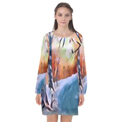 Paysage D hiver Long Sleeve Chiffon Shift Dress