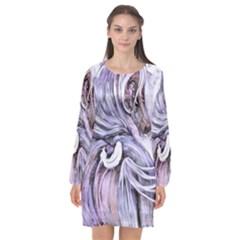 ¨|motion Long Sleeve Chiffon Shift Dress