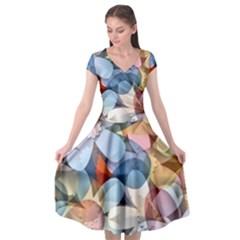 Motif Florale Cap Sleeve Wrap Front Dress
