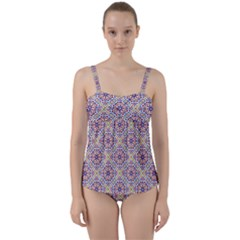 Antique Tile Pattern Twist Front Tankini Set