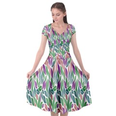 Rainbow Leafs Cap Sleeve Wrap Front Dress