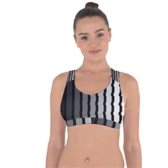 Nine Bar Monochrome Fade Squared Pulled Cross String Back Sports Bra by WetdryvacsLair