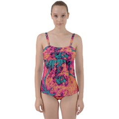 Orange And Turquoise Alcohol Ink  Twist Front Tankini Set by Dazzleway