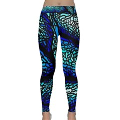 Sea-fans-diving-coral-stained-glass Classic Yoga Leggings by Sapixe