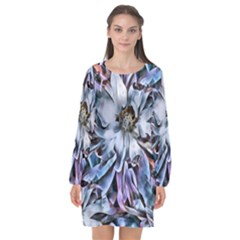 Fleur Abstrait Long Sleeve Chiffon Shift Dress
