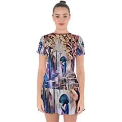 Lesamoureux 1 Drop Hem Mini Chiffon Dress