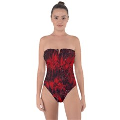 Red Abstract Tie Back One Piece Swimsuit