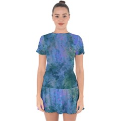 Lilac And Green Abstract Drop Hem Mini Chiffon Dress by Dazzleway