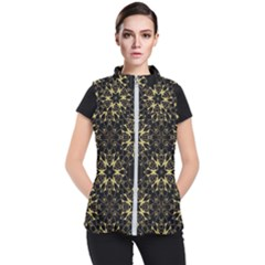 Black And Gold Pattern Women s Puffer Vest