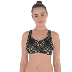 Black And Gold Pattern Cross String Back Sports Bra by Dazzleway