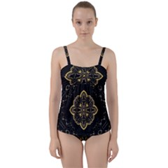 Ornate Black And Gold Twist Front Tankini Set