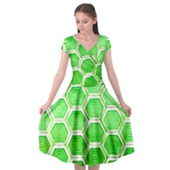 Hexagon Windows Cap Sleeve Wrap Front Dress by essentialimage