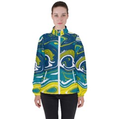 Vector Vivid Marble Pattern 14 Women s High Neck Windbreaker by goljakoff