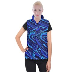 Blue Vivid Marble Pattern 16 Women s Button Up Vest by goljakoff