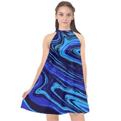 Blue Vivid Marble Pattern 16 Halter Neckline Chiffon Dress  by goljakoff