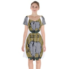 Chinese New Year ¨c Year Of The Ox Short Sleeve Bardot Dress