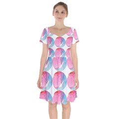 Colorful Short Sleeve Bardot Dress by Sparkle