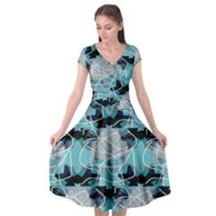Digital Waves Cap Sleeve Wrap Front Dress