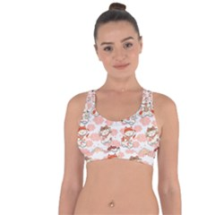 Menaki Cat Pattern Cross String Back Sports Bra by designsbymallika
