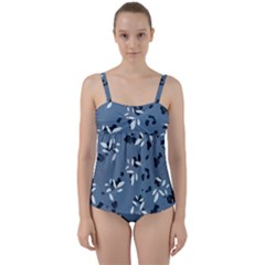 Abstract Fashion Style  Twist Front Tankini Set