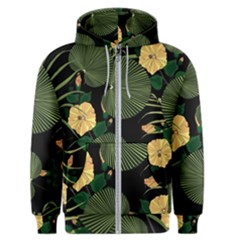 Tropical Vintage Yellow Hibiscus Floral Green Leaves Seamless Pattern Black Background  Men s Zipper Hoodie by Sobalvarro
