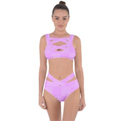 Pink Gingham Check Squares Bandaged Up Bikini Set