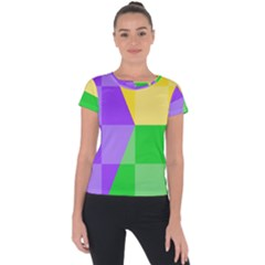 Purple Yellow Green Check Squares Pattern Mardi Gras Short Sleeve Sports Top  by yoursparklingshop
