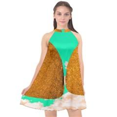 Two Hearts Halter Neckline Chiffon Dress