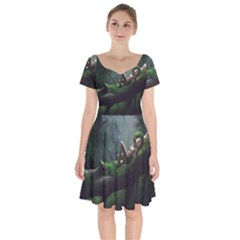 Wooden Child Resting On A Tree From Fonebook Short Sleeve Bardot Dress