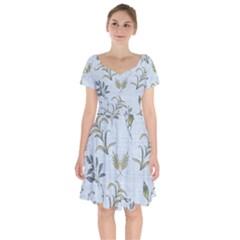 Blue Botanical Plants Short Sleeve Bardot Dress