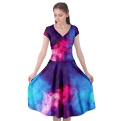 Colorful Pink And Blue Disco Smoke - Mist, Digital Art Cap Sleeve Wrap Front Dress by picsaspassion