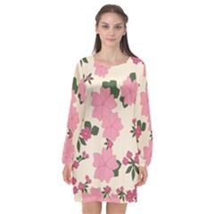 Floral Vintage Flowers Long Sleeve Chiffon Shift Dress