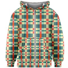 Texture Plaid Kids  Zipper Hoodie Without Drawstring