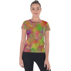Easter Egg Colorful Texture Short Sleeve Sports Top  by Dutashop
