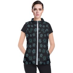 Blue Turtles On Black Women s Puffer Vest by contemporary
