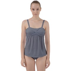 Color Grey Twist Front Tankini Set by Kultjers