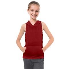 Color Dark Red Kids  Sleeveless Hoodie by Kultjers