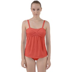 Color Tomato Twist Front Tankini Set by Kultjers
