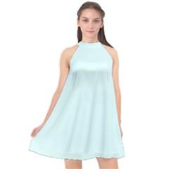Color Light Cyan Halter Neckline Chiffon Dress  by Kultjers