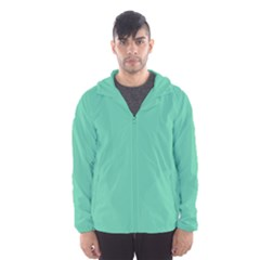 Color Medium Aquamarine Men s Hooded Windbreaker by Kultjers