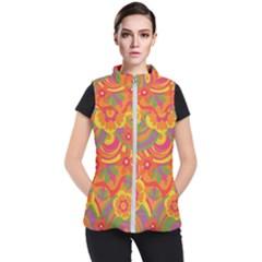 Geometric Floral Pattern Women s Puffer Vest by designsbymallika